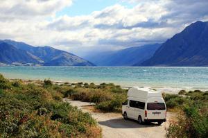 Our campervan at lake Hawea, New Zealand
